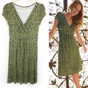 BODEN Green Leopard Animal Print Cap Sleeve Dress
